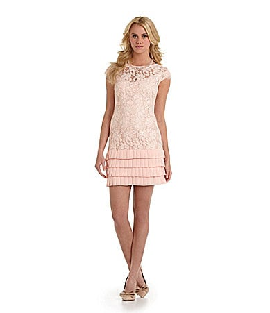 Jessica Simpson Illusion Neckline Lace Dress