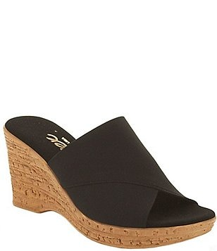 Onex Christina Elastic Banded Slide On Cork Wedge Sandals