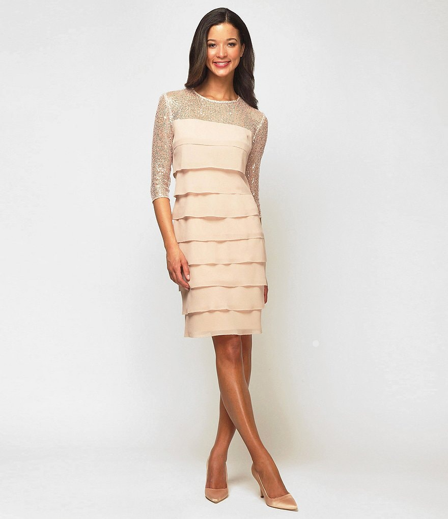 Alex Evenings Illusion Tiered Dress