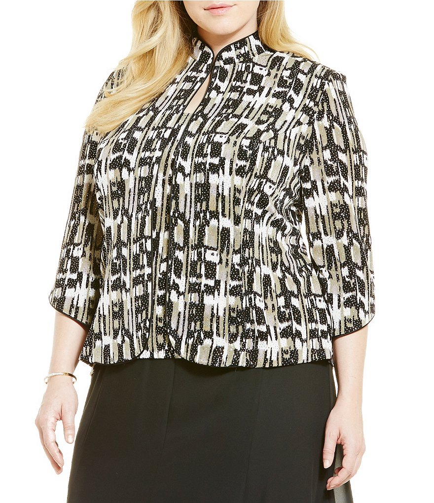 Alex Evenings Plus Printed 3/4 Sleeve Twin Set