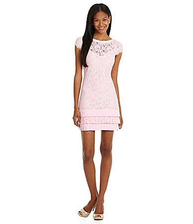 Jessica Simpson Tiered-Hem Lace Dress