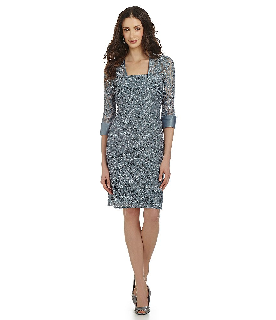 JS Collections Sequined-Lace Jacket Dress