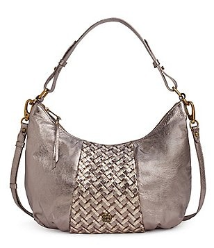 Elliott Lucca Intreccio Metallic Woven Front Hobo Bag