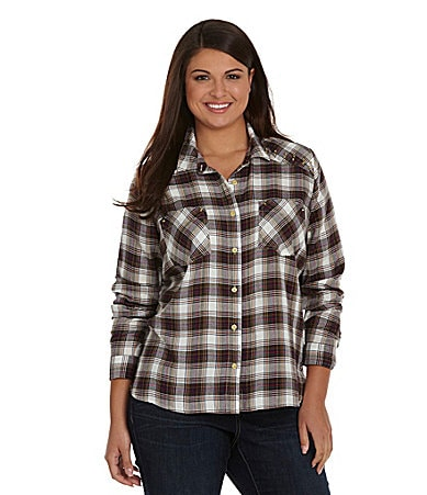 Jessica Simpson Woman Shiah Plaid Stud-Shoulder Shirt