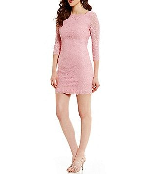 Adrianna Papell Scalloped Lace Sheath Dress