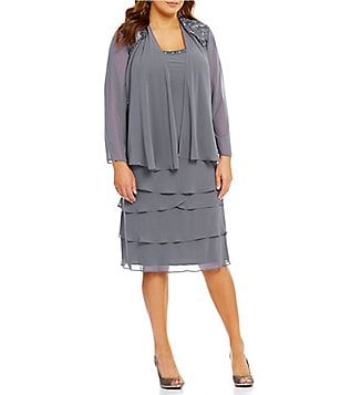 S.L. Fashions Plus Lace-Shoulder Chiffon Jacket Dress