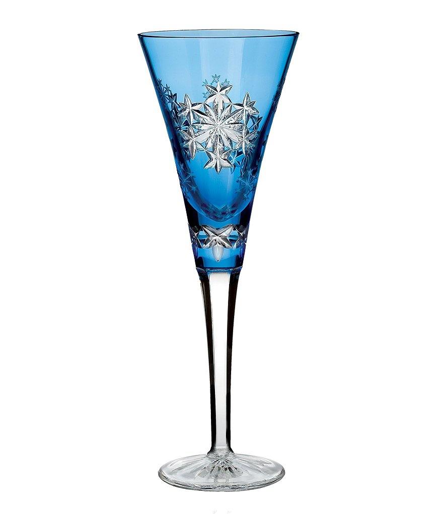 Waterford Snowflake Wishes Collection 3rd Edition Goodwill Light Blue Champagne Flute