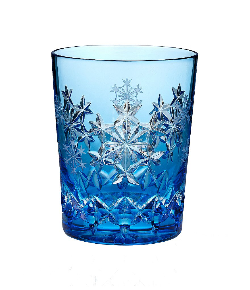 Waterford Snowflake Wishes Collection 3rd Edition Goodwill Light Blue Double Old-Fashioned Glass