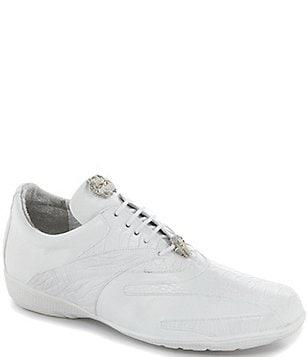 Belvedere Bene Men's Leather and Ostrich Trimmed Dress Sneakers