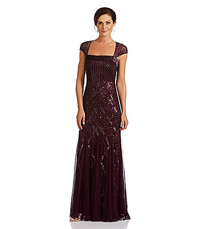 Adrianna Papell Cap-Sleeve Bead Gown