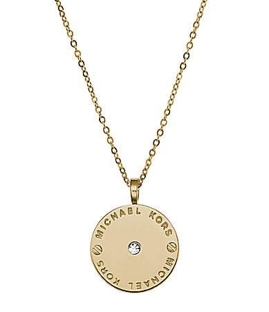 Michael Kors Plaque Disc Pendant Necklace