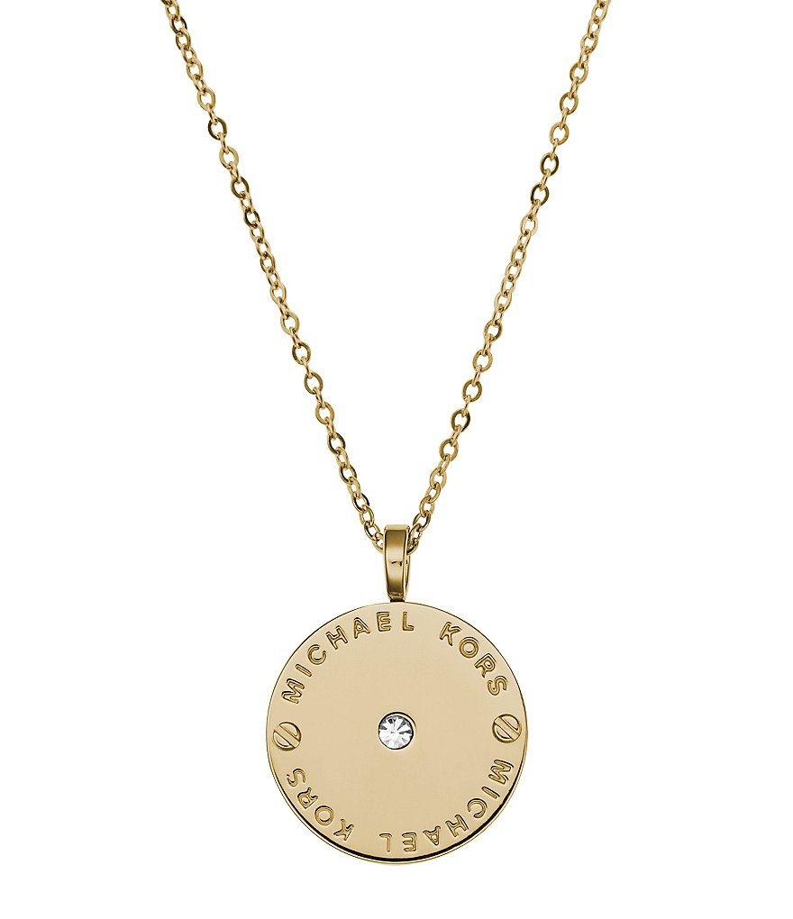 Michael Kors Plaque Disc Dilicate Pendant Necklace