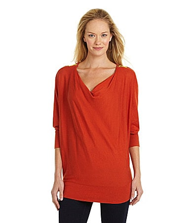MICHAEL Michael Kors Cowlneck Zip-Shoulder Sweater