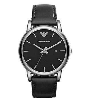 Emporio Armani Men´s Stainless Steel Black Matte Leather Strap 3 Hand Analog Date Watch