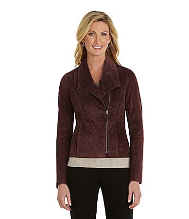 Preston & York Suede Asymmetric-Zip Blazer