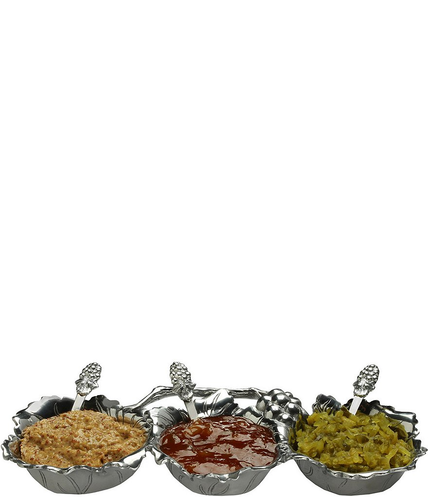 Arthur Court Grape 3-Bowl Condiment Server with Serving Spoons