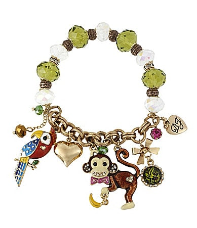 Betsey Johnson A Day at the Zoo Monkey Multi-Charm Half Stretch Bracelet