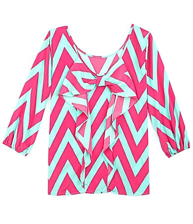 Moa Moa Bow-Back Chevron Blouse