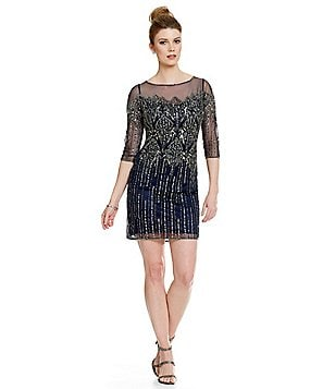 Pisaro Nights Illusion Sleeve Beaded Dress