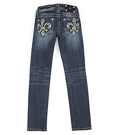 Miss Me Girls 7-16 Faux-Leather Accented Fleur-de-Lis Skinny Jeans