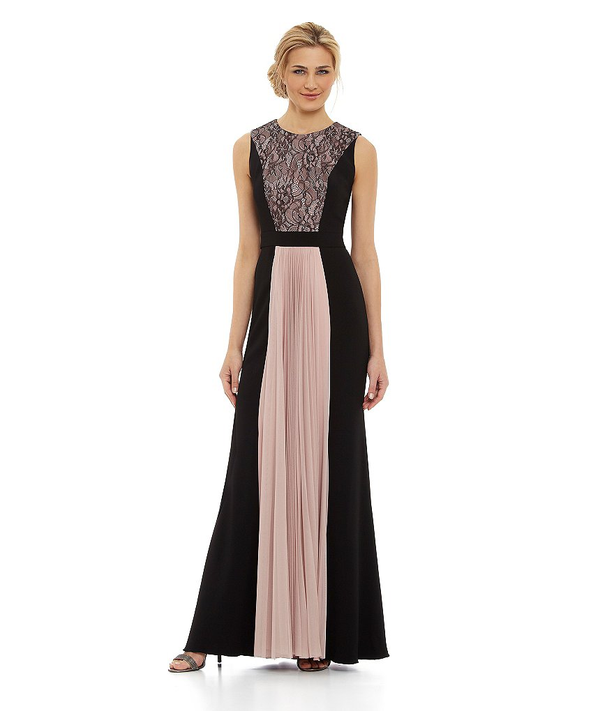 JS Collections Lace-Paneled Gown