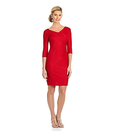 London Times Pintuck Sheath Dress