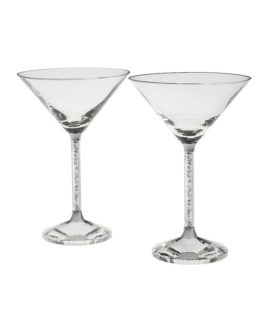 Oleg Cassini Crystal Diamond Martini Glass Pair