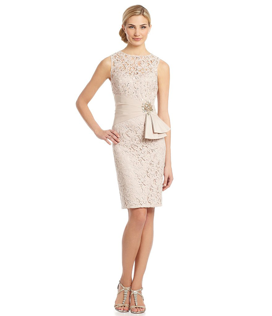 Eliza J Wrapped-Waist Lace Dress