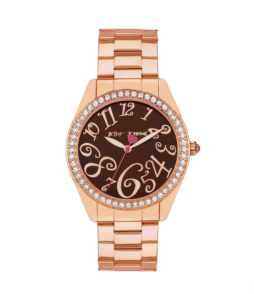 Betsey Johnson Boxed Brown Dial Crystal Bezel Rose Gold Bracelet Watch