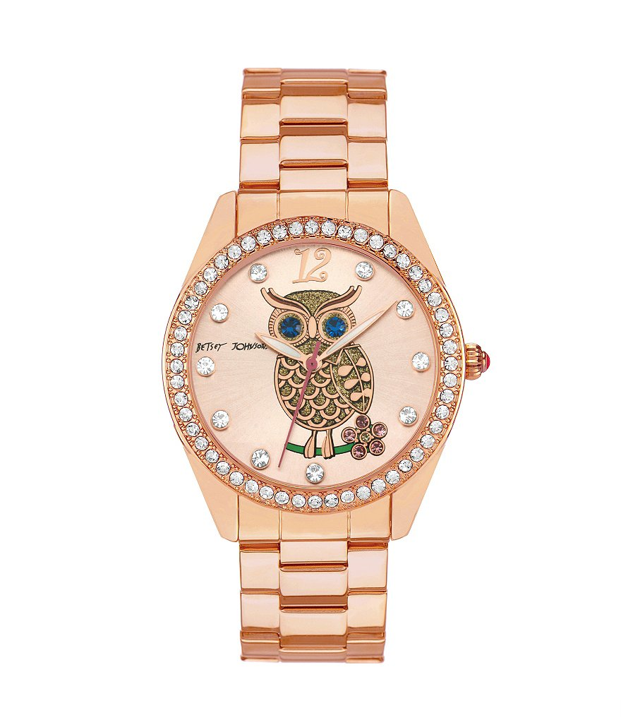 Betsey Johnson Boxed Rose Gold Bracelet Crystal Index and Bezel Watch