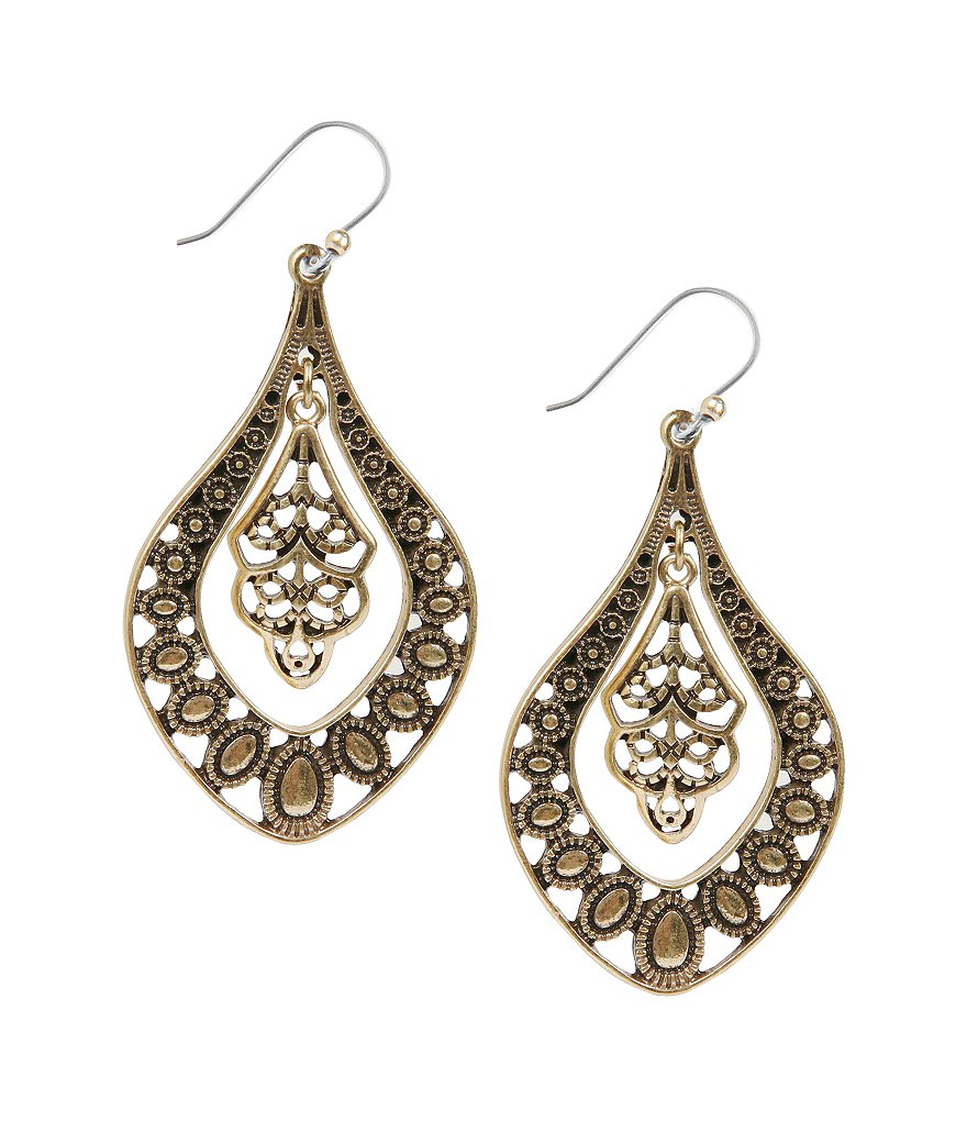 Lucky Brand Gold Filigree Oblong Drop Earrings