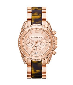 Michael Kors Ladies� Blair Tortoise and Rose Goldtone Chronograph Watch