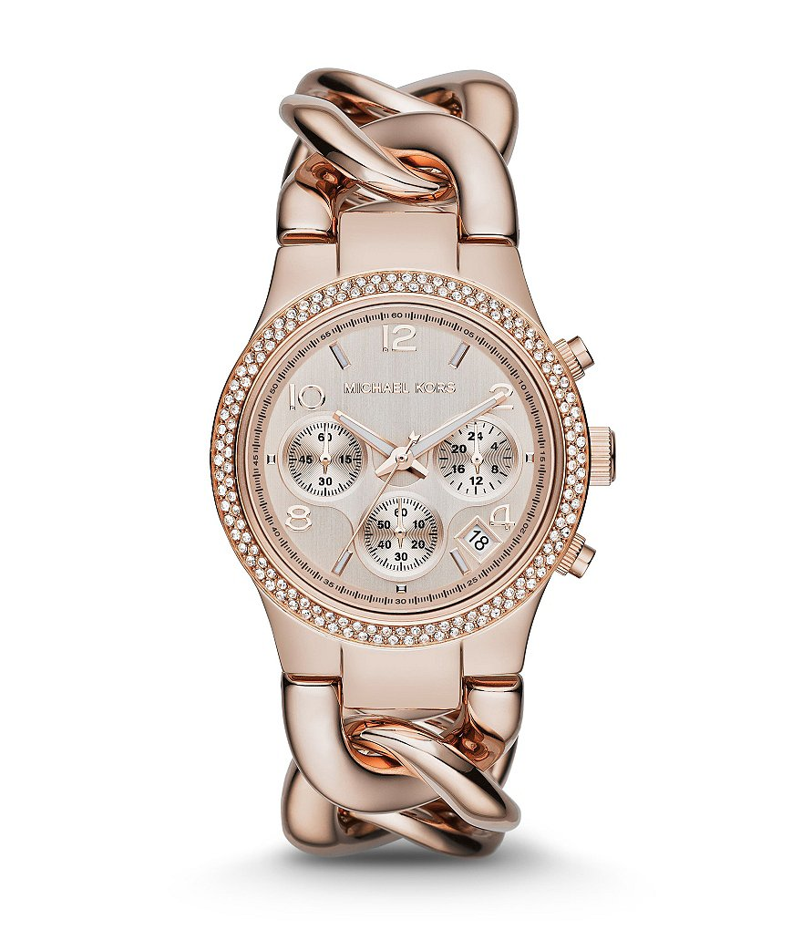 Michael Kors Women's Runway Rose Goldtone Twist Chronograph Watch