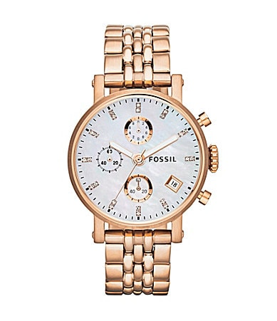 Fossil Original Boyfriend Rose Goldtone Chronograph Bracelet Watch