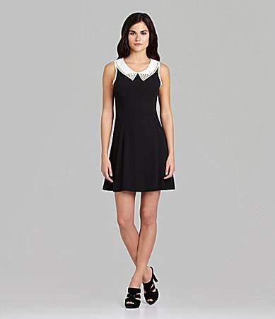 Gianni Bini Fallon Collared Fit-and-Flare Dress