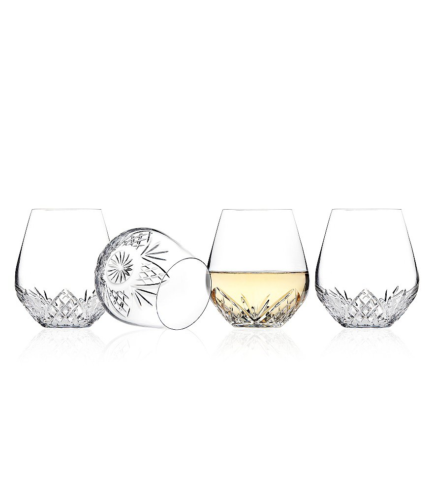 Godinger Dublin Diamond-Cut Crystal Stemless Wine Glasses, Set of 4