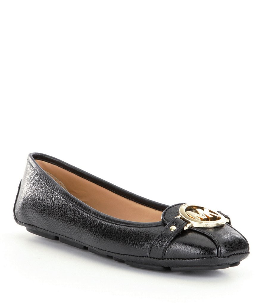 MICHAEL Michael Kors Fulton MK Buckle Leather Moccasin Flats