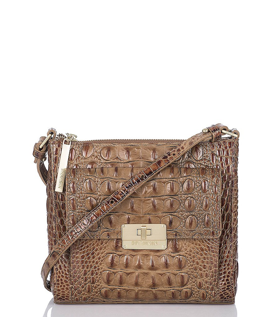 Brahmin Toasted Almond Collection Mimosa Croco-Embossed Cross-Body Bag