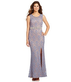 Jodi Kristopher Embellished-Waist Lace Gown