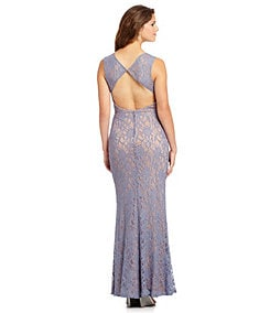 Jodi Kristopher Embellished-Waist Lace Gown