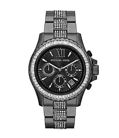 Michael Kors Everest Gunmetal Tone Stainless Steel Chronograph Glitz Watch