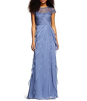 Adrianna Papell Petite Lace Bodice Flutter Gown