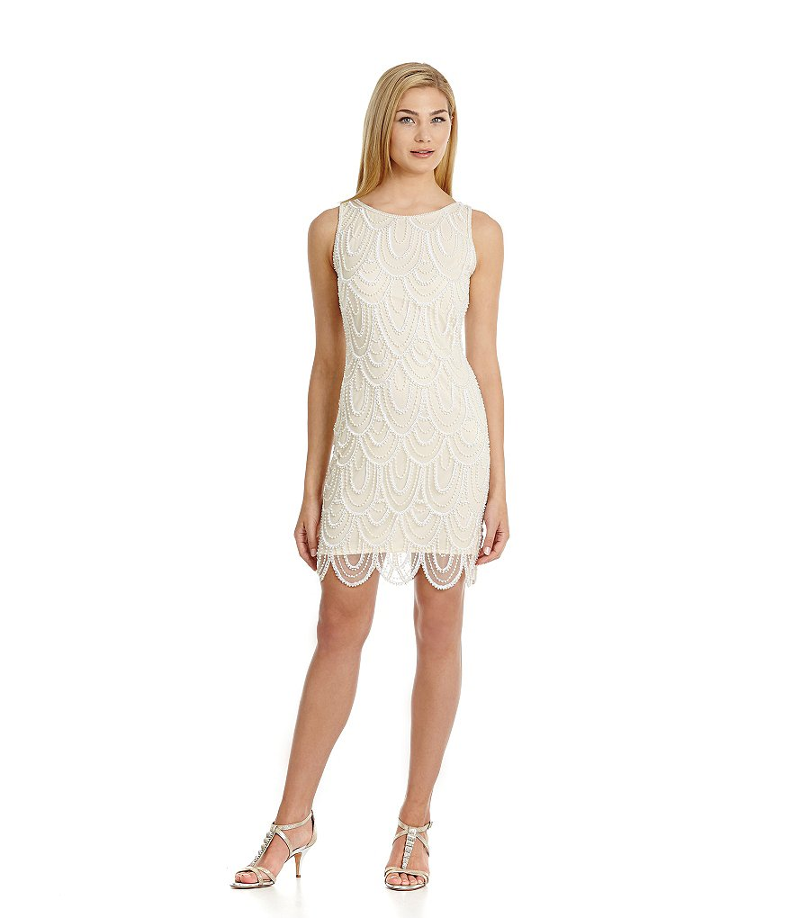 pisarro nights beaded scalloped sheath dress dillards