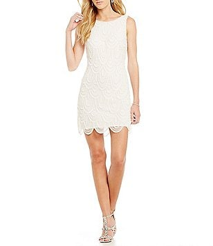 Pisarro Nights Beaded Scalloped Sheath Dress