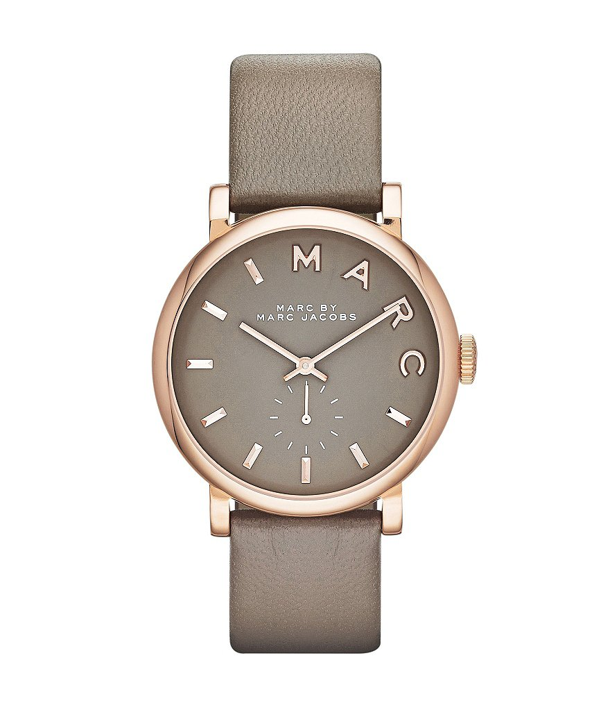 Marc Jacobs Grey Baker Leather Strap Analog Watch