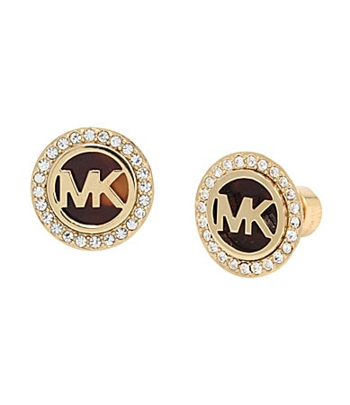 Michael Kors MK Logo Tortoise Stud Earrings