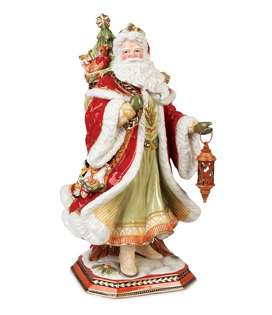 Fitz and Floyd Damask Holiday Santa Centerpiece Figurine