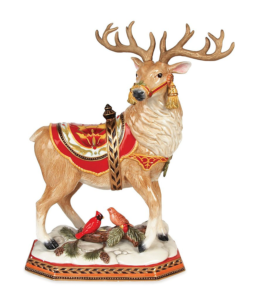 Fitz and Floyd Damask Holiday Stag Figurine