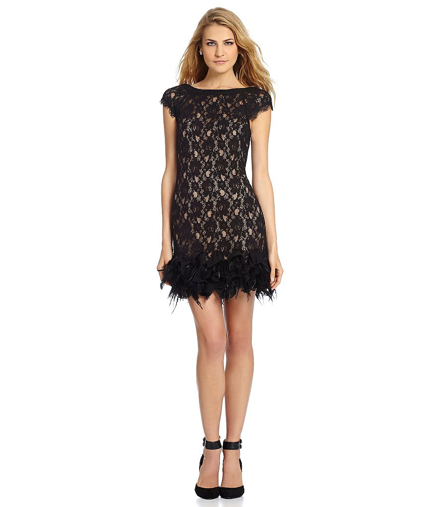 Jessica Simpson Lace Feather-Hem Dress