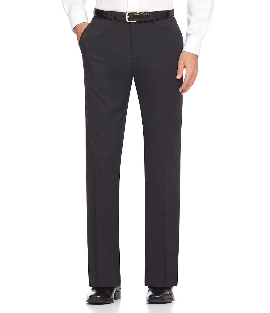 Calvin Klein Slim-Fit Flat-Front Ticker Stripe Pants